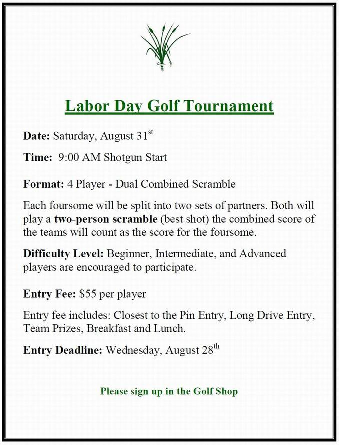 Weekapaug Golf Club - Calendar Event - Labor Day Tournament