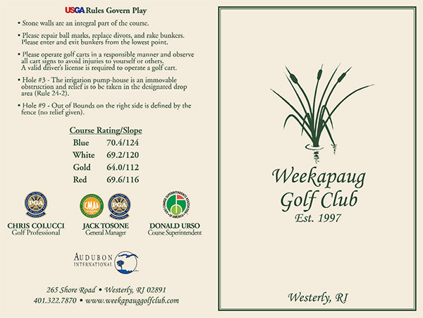 Scorecard information for Weekapaug's nine-hole golf course