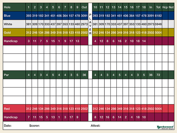 A Weekapaug Golf Course scorecard